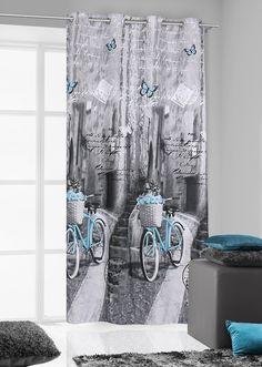 Szare zasłony do kuchni z turkusowym rowerem