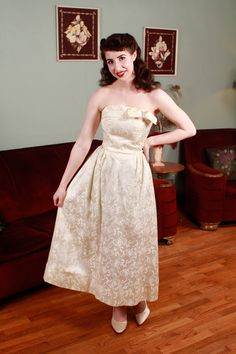 Vintage 1960s Wedding Gown  Strapless Brocade Evening by FabGabs