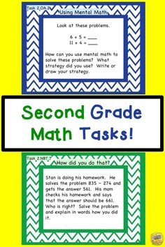 Second Grade Math Tasks!  One for every Common Core Standard!  Easy to use and so engaging for the kids!  Let math tasks transform your instruction!  Grade 2