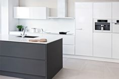 White kitchen with gray island (Nixi-keittiö) Gray And White Kitchen, Design Moderne, Cozy House, Home Decor Inspiration, Kitchen Dining, Dining Room, Home Kitchens, Decoration, New Homes