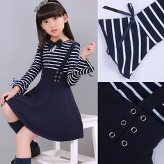 flare cuff a-line dressese girl children princess clothing kids navy stripe long sleeve brushed and thicken warm cute elsa dress Girls Dresses Sewing, Kids Outfits Girls, Little Girl Dresses, Girl Outfits, Kids Party Frocks, Kids Frocks, Frocks For Girls, Baby Girl Skirts, Baby Girl Party Dresses