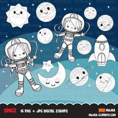 Free Space astronauts Digital stamps, planets, mars, jupiter, saturn, – MUJKA CLIPARTS