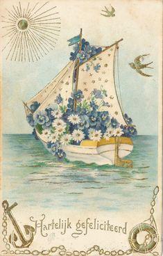 1906 Een Nederlandse postkaart,geen paaskaart, maar wilde deze niet voorbij laten ,,varen,,.......................lb