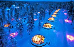 """Such a """"COOL"""" place - an Igloo Village! Once for Collins - Igloo Village - Hotel Kakslauttanen Saariselkä, Finland Places Around The World, Oh The Places You'll Go, Places To Travel, Places To Visit, Travel Pics, Places Worth Visiting, Travel Advice, Igloo Village, Village Hotel"""