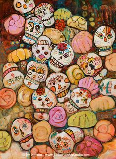 Sugar Skulls Painting - Calaveras Azucar Y Pan Dulce by Jen Norton Memento Mori, Sugar Skull Art, Sugar Skulls, Day Of The Dead Mask, All Souls Day, All Saints Day, We Will Rock You, Candy Skulls, Pan Dulce