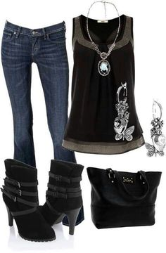 I love the classic look of the shirt with jeans. I don't like the boots.