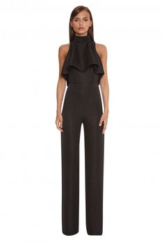 Black jumpsuit with feature ruffle front and wide leg trousers. Shop the collection online. Neoprene Fashion, Dressed To Kill, Black Jumpsuit, Wide Leg Trousers, Sexy Outfits, My Style, Jumpsuits, How To Wear, Shopping