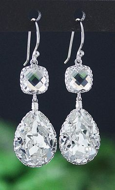Clear Swarovski Crystal Earrings from EarringsNation Classic Weddings White Weddings Bridesmaid Gifts