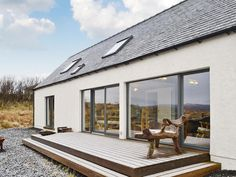Hygge - Houses for Rent in Ose near Dunvegan, Isle of Skye Danish House, Deck Colors, True Homes, Wood Burner, Patio Doors, Architect Design, Malaga, Renting A House, Gardens