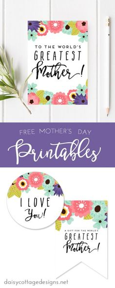 Printable Mother's Day Card & Tags - Daisy Cottage Designs