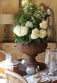 My Inner Landscape Antique Dining RoomsDining Room FurnitureCountry FrenchCountry StyleTablescapesFlower PowerFloral DesignFloral Arrangements Hydrangea
