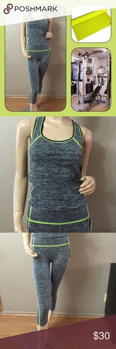 2pcs WORK OUT SET Cute two pc work out / yoga set. 55% nylon 35% polyester 10% spandex. Wicking fabric helps keep you dry and cool. Kathy Other