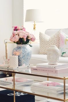 Spring Decor with Garden roses and floral pillows