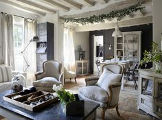 When I came back from Paris a few years ago, I was completely inspired to redo my entire home in grays, neutrals, linens, rustic with a contemporary twist of glitz here and there.  This room is so the vibe I felt when I was there!