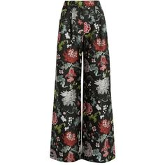 Adam Lippes Floral-jacquard wide-leg trousers ($2,250) ❤ liked on Polyvore featuring pants, floral printed pants, floral print trousers, adam, adam pants and wide leg trousers