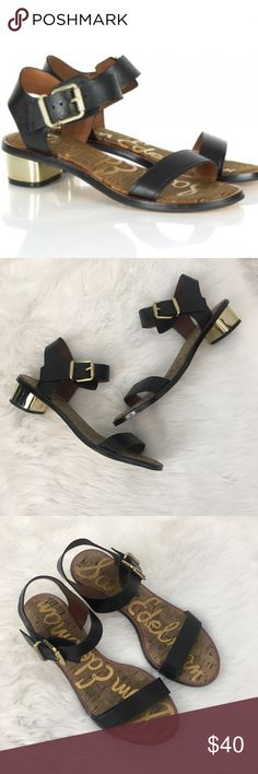 Sam Edelman Trina Leather Strap Sandals Size 10.  Sam Edelman Trina Sandals.  Black leather straps with gold heels.  Some paint is peeling from edges of the soles. Sam Edelman Shoes Sandals