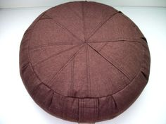 Zafu Cushion in Walnut Brown Repurposed Linen Fabric. by zafuchi, $48.95