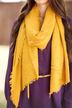 Fall Fashion, Fall Scarf, Yellow Scarf, Mustard Colored Scarf, OOTD- Never 'Waffle' Scarf-Mustard by Jane Divine Boutique www.janedivine.com