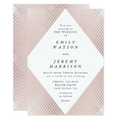 Shop Diamond Geometric Pink Deco Gold Gatsby Wedding Invitation created by PhrosneRasDesign. Personalize it with photos & text or purchase as is! Art Deco Wedding Invitations, Personalised Wedding Invitations, Gold Invitations, Wedding Invitation Cards, Personalized Wedding, Different Wedding Ideas, Wedding Stationery Inspiration, Geometric Wedding, Gatsby Wedding