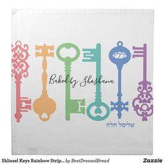 Shlissel Keys Rainbow Stripe Challah Dough Cover & Cloth Napkin Dinner Napkins, Cocktail Napkins, Custom Napkins, Vintage Keys, Challah, Meaningful Gifts, Your Design, Rainbow