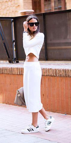 New York Fashion Week sept 2014, Lanston cropped long sleeve, Zara skirt, Adidas shoes
