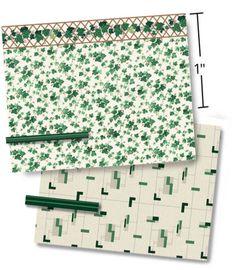 "1//4/"" Scale Dollhouse Wallpaper Grecian Stripe 2 a 1940 Vintage Pattern 1:48"