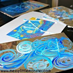 Foil - an easy art activity inspired by Van Gogh Van Gogh 'Starry Night' inspired painting on foil art activity ideas for kids.Van Gogh 'Starry Night' inspired painting on foil art activity ideas for kids. Stary Night Painting, Starry Night Art, Sky Night, Art Lessons For Kids, Art For Kids, 50 Diy Crafts, Crafts Cheap, Kids Crafts, Paper Crafts