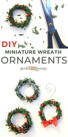 Use a snippet from an outdoor evergreen to make these mini wreath ornaments. Hang them on the tree, add them to gifts, or use them as napkin rings! #gardentherapy #christmas #crafts #handmadegifts #miniaturegardening #ornaments Ornament Wreath, Ornaments, Christmas Wreaths, Christmas Crafts, Garden Projects, Evergreen, Napkin Rings, Diy Ideas, Therapy