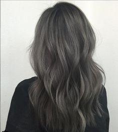 Purple Grey Hair, Grey Brown Hair, Grey Hair Wig, Ashy Hair, Lace Hair, Light Brown Hair, Brown Hair Colors, Ombre Hair, Dark Grey Hair Color