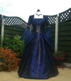 Medieval Goth Blue Dress Renaissance Dress Wedding Ball Gown Costume 14 16 18 | eBay