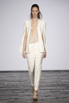-modern capelet. in luv w/ white suits. Lever Couture RTW Spring 2013