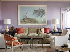 Lavender living room walls and trim.  Katie Ridder