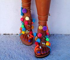 "Tie Up Gladiator ""Misty"" Genuine Leather ethnic sandals, pom pom sandals"