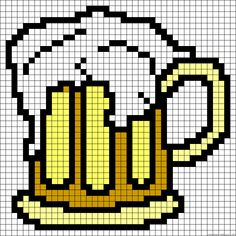 Beer perler bead pattern for the BIG boys (or girls) ; Melty Bead Patterns, Hama Beads Patterns, Beading Patterns, Plastic Canvas Crafts, Plastic Canvas Patterns, Perler Bead Art, Perler Beads, Cross Stitching, Cross Stitch Embroidery