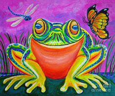 Colorful Smiling Frog Painting - VooDoo Frog Fine Art Print