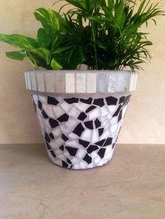 Indoor mosaic planter, large flower pot, terracotta pot, outdoor mosaic planter, kitchen herb container, handmade garden pot, patio planter