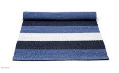 Plastic rug Blue/white striped