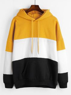 Multicolor Drop Shoulder Cut and Sew Drawstring Hoodie – Lyfie Stylish Hoodies, Cool Hoodies, Hoodie Sweatshirts, Girls Fashion Clothes, Fashion Outfits, Tomboy Outfits, Emo Outfits, Punk Fashion, Lolita Fashion