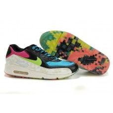 Hommes Nike Air Max 90 Noir/Bleu/Rouge/Color bottom