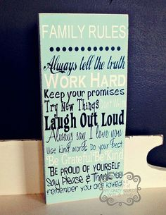 Family Rules Primitive Home Decor Wood Block by mycrazyworlds, $14.95