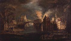 Joos de Momper: Incendio de ciudad en la noche. Museo Lázaro Galdiano, Madrid.