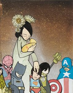 """I have this Sam Flores print on a t-shirt. I call it, """"my little heroes"""""""
