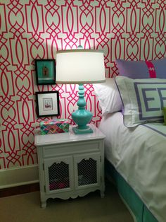 Fabrics by Ragland Hill, bedding by Leontine Linens. girl's room, pink pattern wallpaper, white, turquoise accents