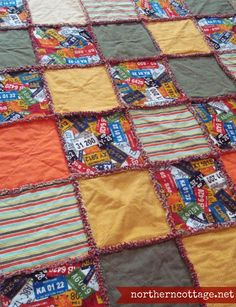 A Great GIFT for ANY GUY in your life - RAG QUILT THROW License Plate Theme Throw... because boys like to snuggle too!!