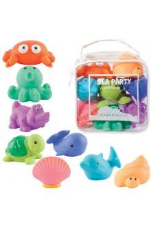 Elegant Baby Squirties Sea Party Its a Party  Celebrate bath time fun with Elegant Babys Sea Party bath Squirties 8 piece set includes Crab Octopus Sea Turtle Crocodile Hermit Crab Dolphin Whale Seashell   Squeeze the toys underwater to fill them up then squeeze again. Please Click the image for more information.