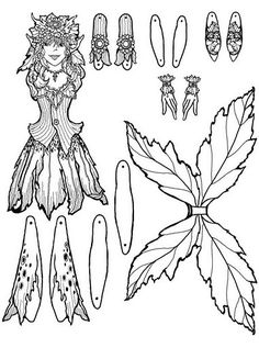 Fairy Coloring, Colouring Pages, Adult Coloring Pages, Coloring Books, Paper Puppets, Paper Toys, Paper Art, Paper Crafts, Fairy Crafts