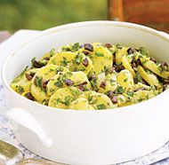 Potato Salad with Olives, Scallions & Garden Herbs by Fine Cooking Olive Recipes, Herb Recipes, Potato Recipes, Great Recipes, Salad Recipes, Potato Dishes, Veggie Recipes, Yummy Recipes, Dessert Recipes