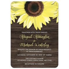 Sunflower and barn wood rustic wedding invitation   #weddings #weddinginvitations #rusticwedding #sunflowerwedding