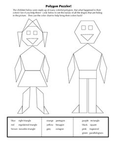 This activity will help children identify polygons. Assigning a color to each polygon will reinforce prior knowledge and stimulate their visual lea...