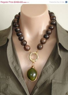 VALENTINE SALE ASHIRA Ebony Wood Necklace with by AshiraJewelry, $64.00